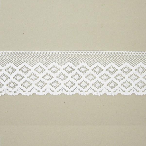 Spitze Rautenmuster Polyester 95mm breit, weiß