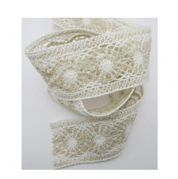 Spitze, Baumwolle, 45mm breit, weiß-natur