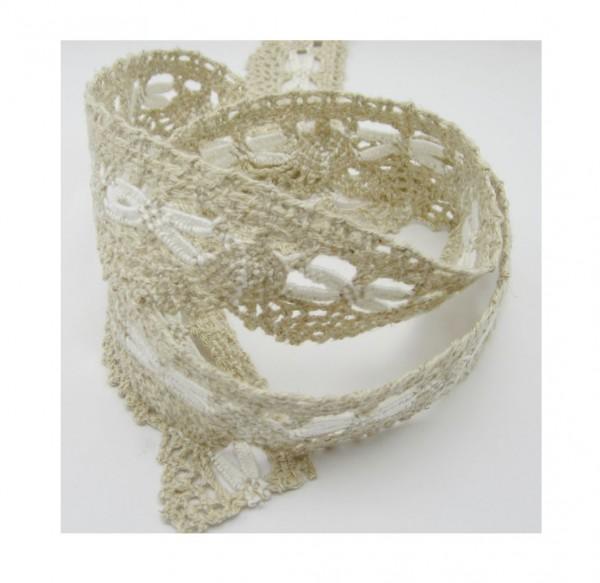 Spitze, Baumwolle-Leinen, 40mm breit, weiß-natur