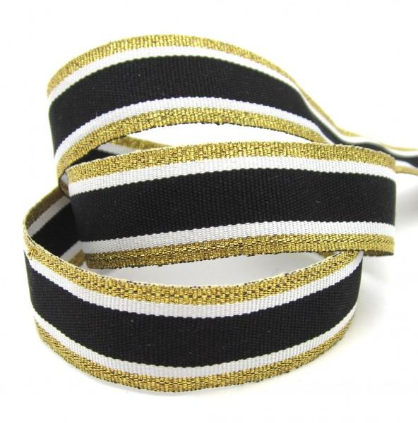 Streifenband, 22mm breit, silber oder gold