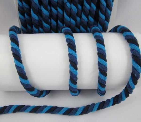 Baumwollkordel, gedreht, 14mm, schwarz-blau-hellblau