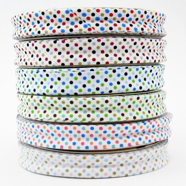 Schrägband weiß mit bunten Punkten