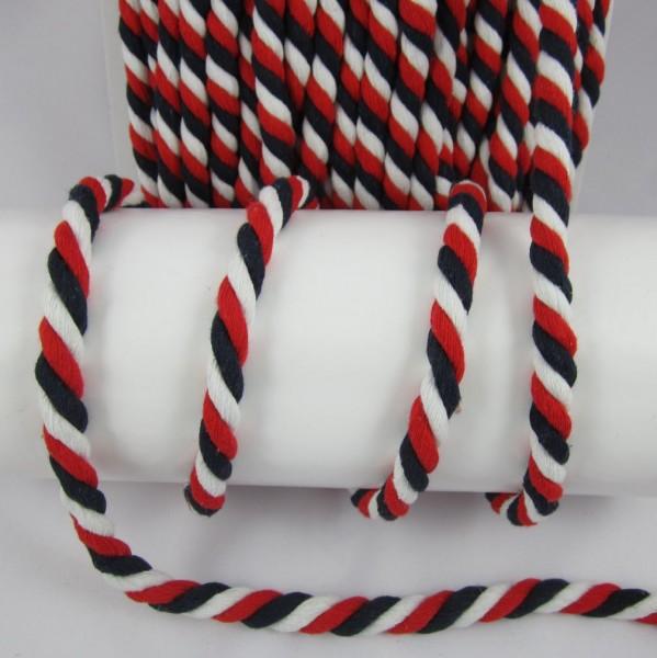 Kordel, schwarz-rot-weiß 15mm