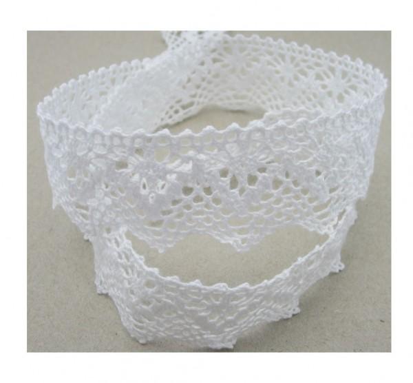 Spitze, Baumwolle, 35mm breit, weiß